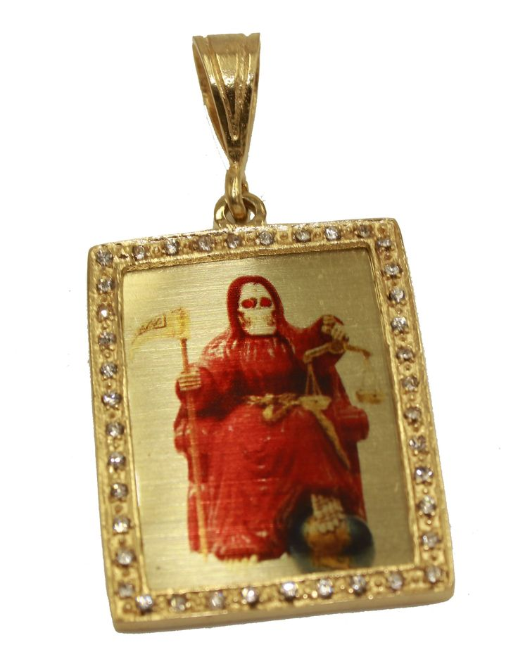 Santa Muerte Holy Death Prayer 18k Gold Plated with CZ Pendant with 24 Chain