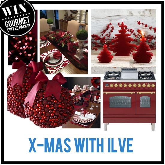 When it comes to Christmas decorating, you can't go past red for a classic look!  Show us your idea of celebrating the festive season in style in the 'Xmas with ILVE' Pinterest Competition.  You will be in the running to win an ILVE Coffee Machine and Gourmet Coffee Pack from Campos Coffee and Avanti right in time for Christmas!  More info on the Xmas with ILVE Comp Board.  Winner announced 23rd December 2013.