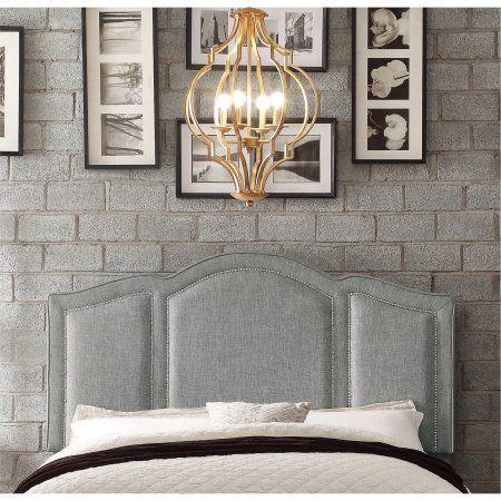 Alton Furniture Novella Upholstered Headboard, Queen Linen Grey, Beige