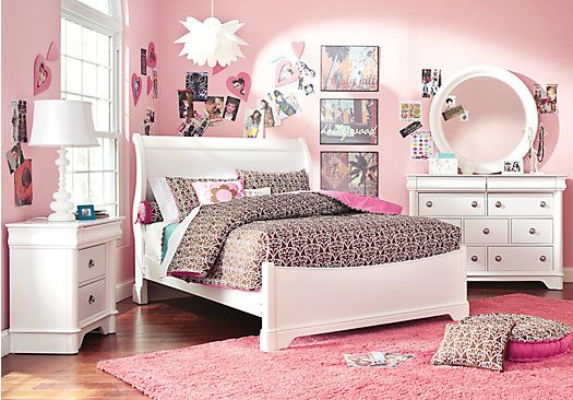 picture of Oberon White 6 Pc Full Sleigh Bedroom  from Teen Bedroom Sets Furniture