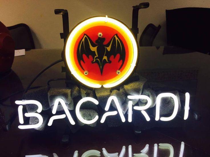 "BACARDI WHISKY BAT ALOCAHOL JIM BEAM COLA NFL BEER BAR NEON LIGHT SIGN 13""X7"" HK #BACARDI"