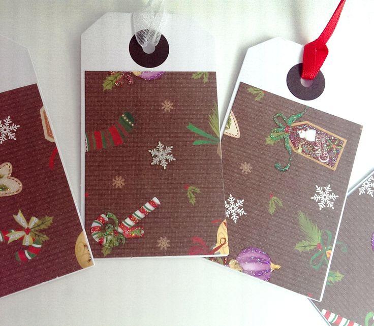 5 Christmas tags, handmade gift tags, pack of 5 Christmas tags, ribbons, individual gift tags, holiday gift tags, red ribbon by SilverpressShop on Etsy