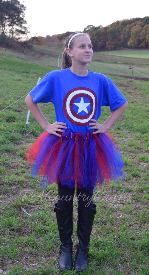 Easy DIY girls' Captain America costume- freezer paper stencil shirt and a tutu!