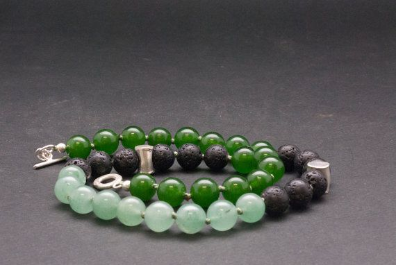 Green Jade and Lava Stone Necklace Elegant by SunSanJewelry