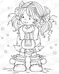"""""""Heidi"""" girl with pigtails and braids, designed by Sylvia Zet - stamp, coloring page, or embroidery pattern?"""