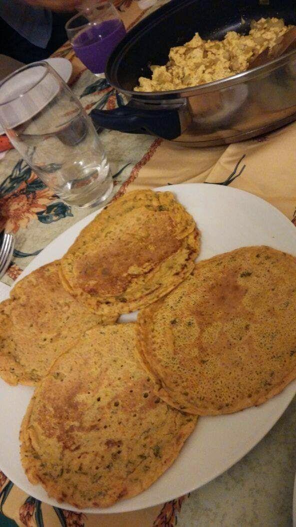 """Crepes Ayurveda con harina de garbanzo. Dle Blog """"Espinacas con garbanzos"""""""