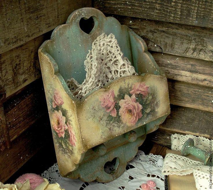 """Купить Деревянная ключница """"Роза мятная"""" - винтаж, массив липы, бирюзовый, цветы, пасхальный подарок"""