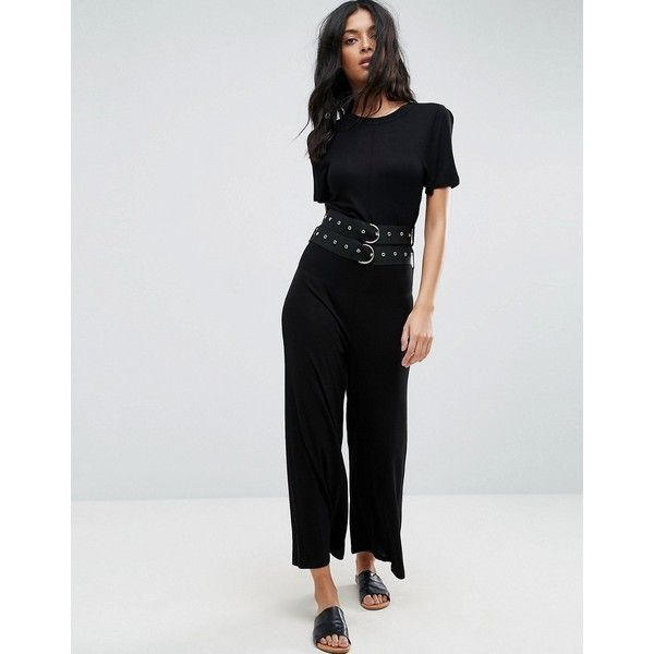 ASOS Jersey T-Shirt Jumpsuit with Double Belt Detail (3,660 INR) ❤ liked on Polyvore featuring jumpsuits, black, tall jumpsuit, jump suit, short sleeve jersey, jersey jumpsuit and double-buckle belts