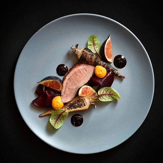Duck, parsnip, figs, beets, pumpkin.                                                                                                                                                                                 More