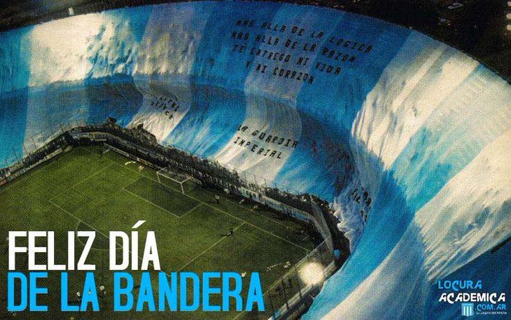 """""""Se está desplegando al decir de los hinchas de #Racing, la bandera más grande del mundo"""".   #FelizDíaDeLaBandera."""