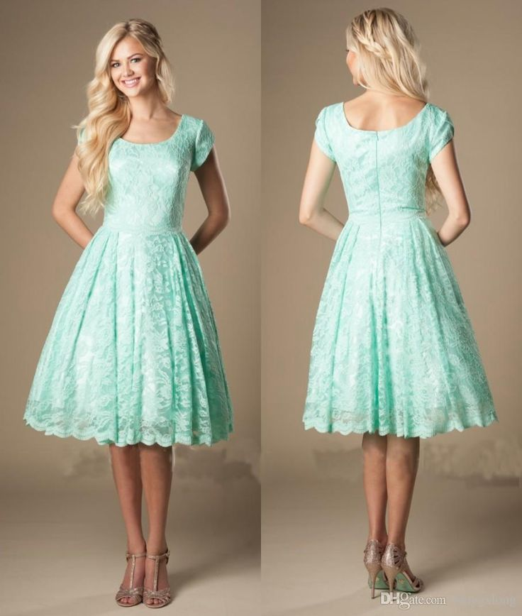 Vintage Lace Knee Length Mint Short Modest Bridesmaid Dresses With Cap Sleeves Round Neck 2016 New Temple Informal Bridesmaids Dresses Bridesmaid Maxi Dresses Bridesmaid Short Dresses From Longgxlong, $62.49| Dhgate.Com