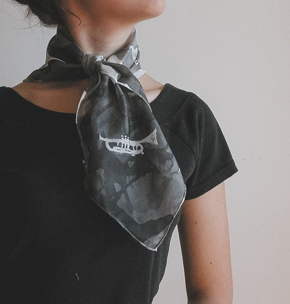 Hand painted silk neckerchief for music lovers | Hand painted silk foulard | clack and white scarf | silk square shawl | hand painted silk scarf