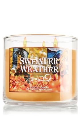 Sweater Weather 3-Wick Candle - Slatkin & Co. - Bath & Body Works: just got this and I'm in love.  Has a faint appley scent and smells just like autumn