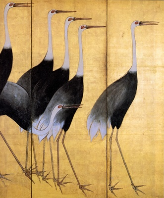 Vintage Japanese cranes screen (detail)