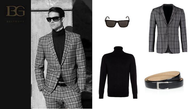 Elegancka stylizacja mimo nonszalanckiej kraty to idealne rozwiązanie dla pewnych siebie mężczyzn, ceniących indywidualizm i najnowsze trendy.  pasek: Beltguys (www.beltguys.pl) marynarka (garnitur): Topman  golf: Tommy Hilfiger okulary: Lacoste  zdjęcie po lewej: Pierre Cardin www.belt-guys.com  #leather #belts #bracelets #accessories #christmas #discount #sale #gift #fashion