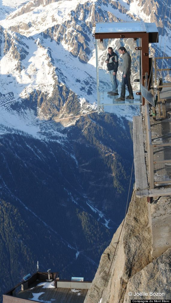 Glass cage hangs over the edge of 4km-high mountain in French Alps