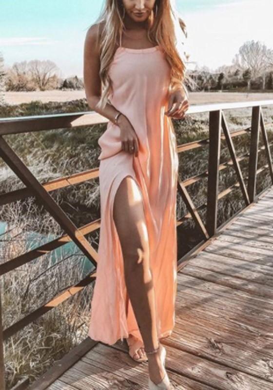 fa87db48f9638 Pink Plain Tie Back Side Draped Bohemian Maxi Dress | Women's ...