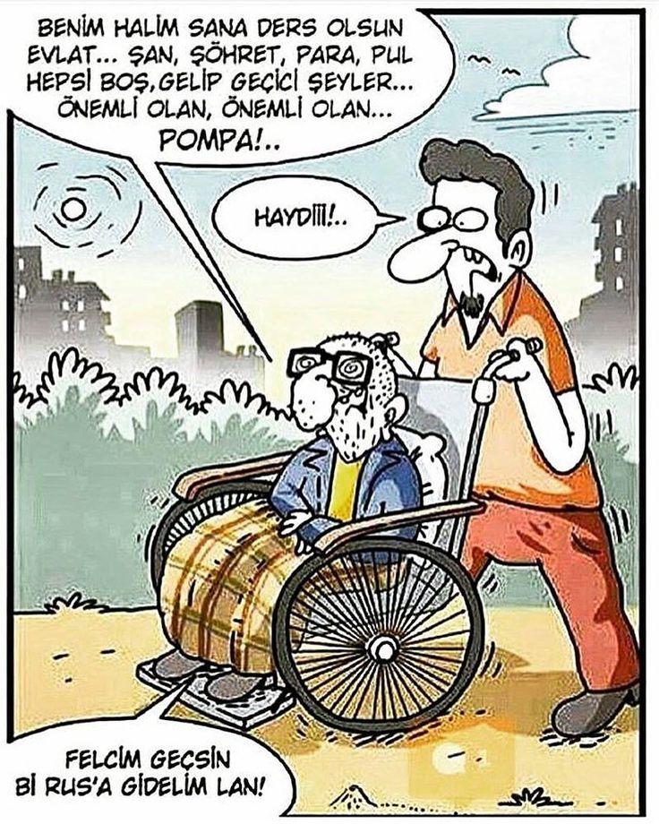 - Benim halim sana ders olsun evlat... Şan, şöhret, para, pul hepsi boş, gelip geçici şeyler... Önemli olan, önemli olan... Pompa!... + Haydiii!.. - Felcim geçsin bi Rus'a gidelim lan! #karikatür #mizah #matrak #komik #espri #şaka #gırgır #komiksözler