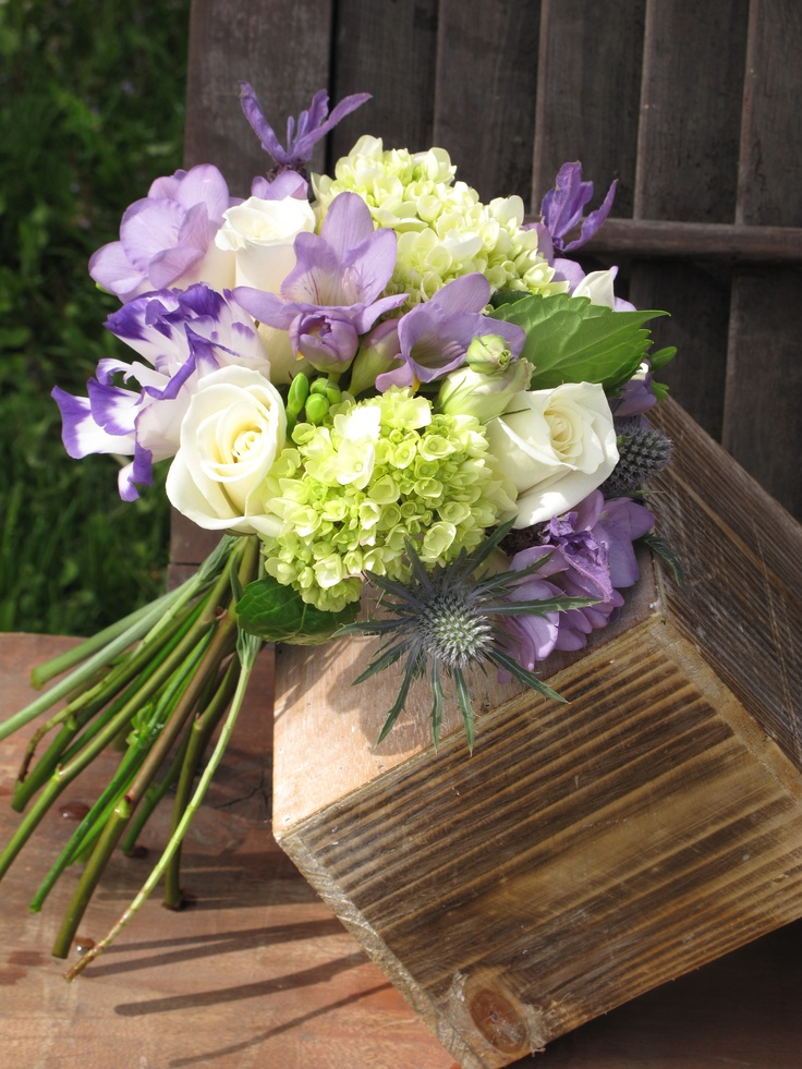 lavender, white and green bouquet