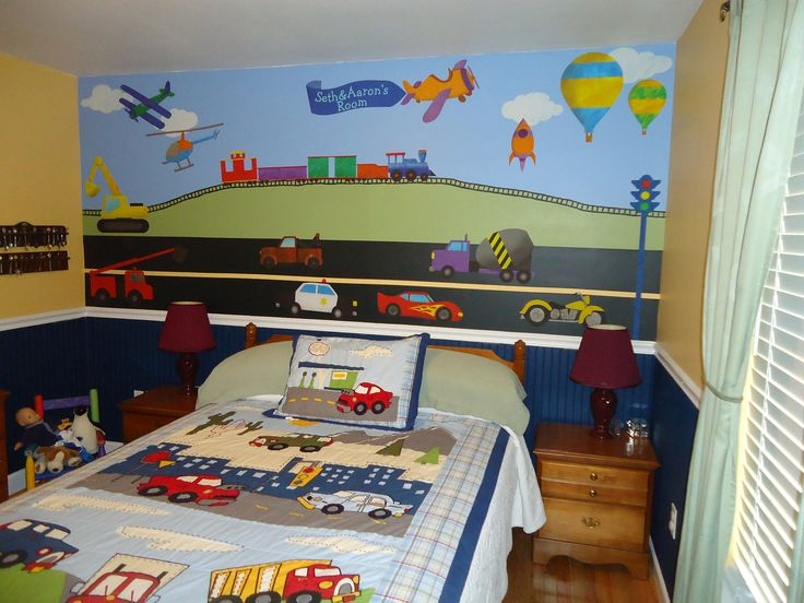Transportation Wall Decals Train Construction Car Truck Airplane Stickers For Boys Room Jumbo Set