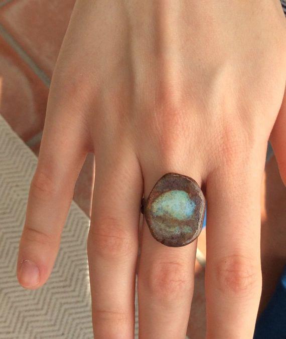 Ceramic statement ring  stoneware rustic handmade  blue and