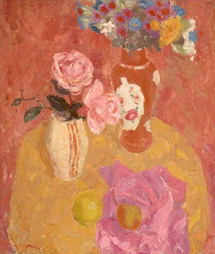 william george gillies(1898–1973), still life with roses, c.1943. oil on canvas, 66.5 x 56.2 cm. national galleries of scotland http://www.bbc.co.uk/arts/yourpaintings/paintings/still-life-with-roses-211804