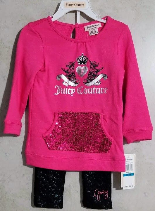 87a1d81e2 Juicy Couture Baby Girl 2 Piece Outfit Set Pink & Black New Size 24 Months