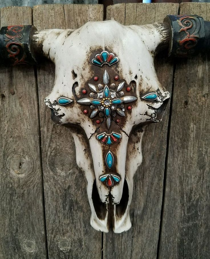 """Rustic Western cow skull with turquoise embellishments  21"""" × 13"""" home decor"""