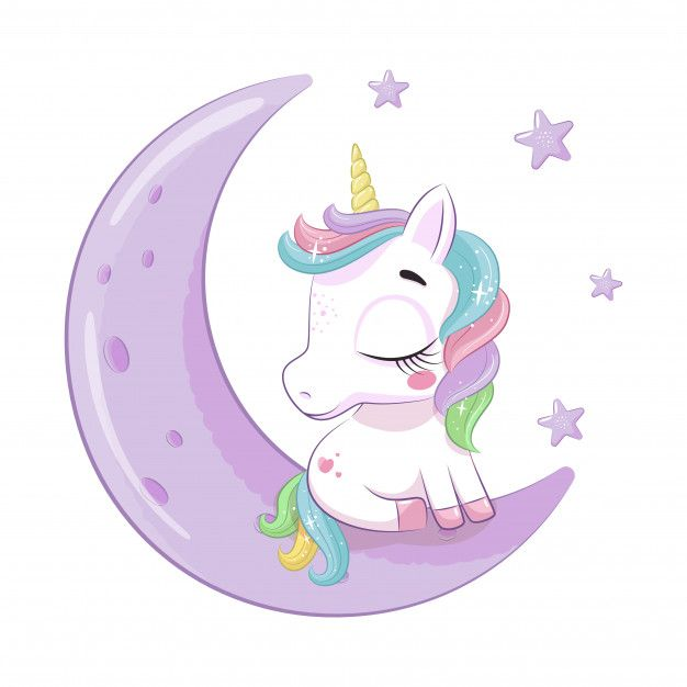 Cute Baby Unicorn Sitting On The Moon Illustration For Baby Shower Greeting Card Party Invitation Fashion Clothes T Shirt Print Baby Unicorn Baby Animal Drawings Unicorn Wallpaper Cute