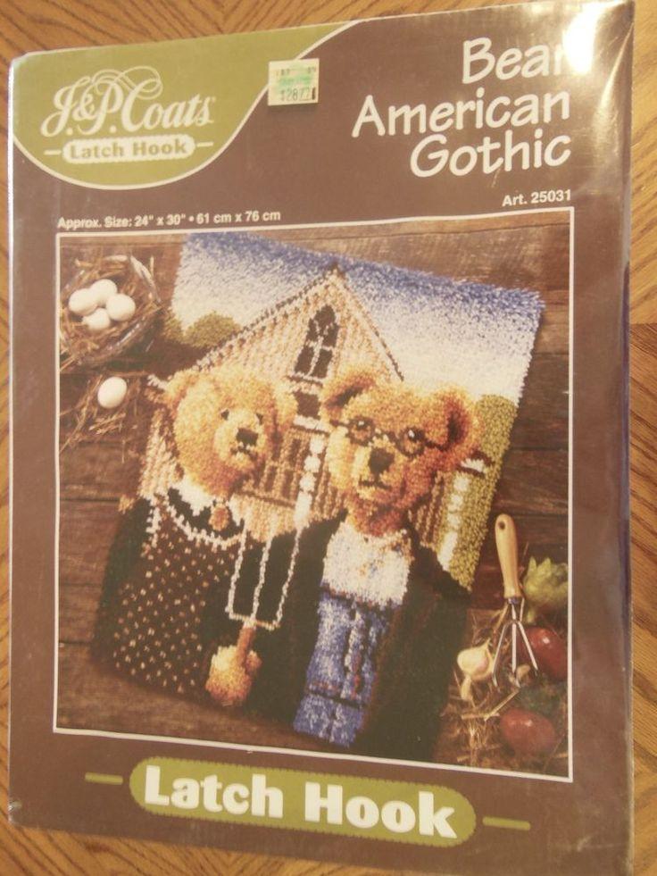 "J.&P. Coats Bear American Gothic Latch Hook Rug Kit. 24""x30"" Vintage   Crafts, Needlecrafts & Yarn, Rug Making   eBay!"