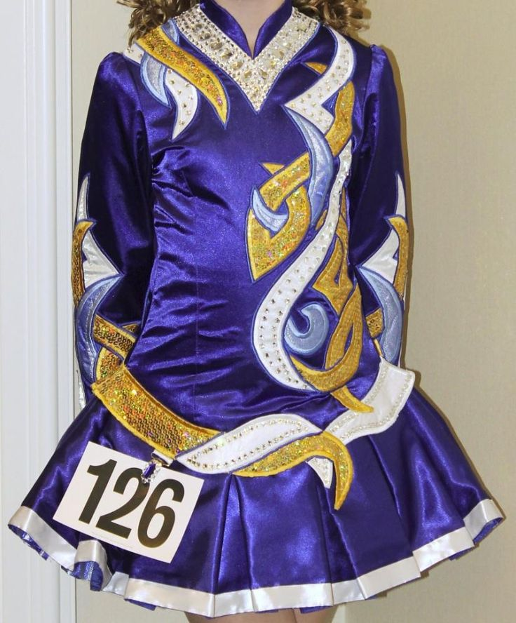 Striking Blue Celtic Art Irish Dance Dress Solo Costume For Sale