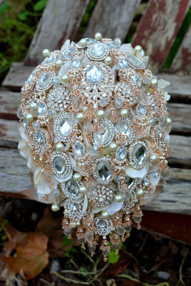 Deposit On A Rose Gold Champagne Cascading Jewlery Bouquet Made To Order Wedding Bouquet