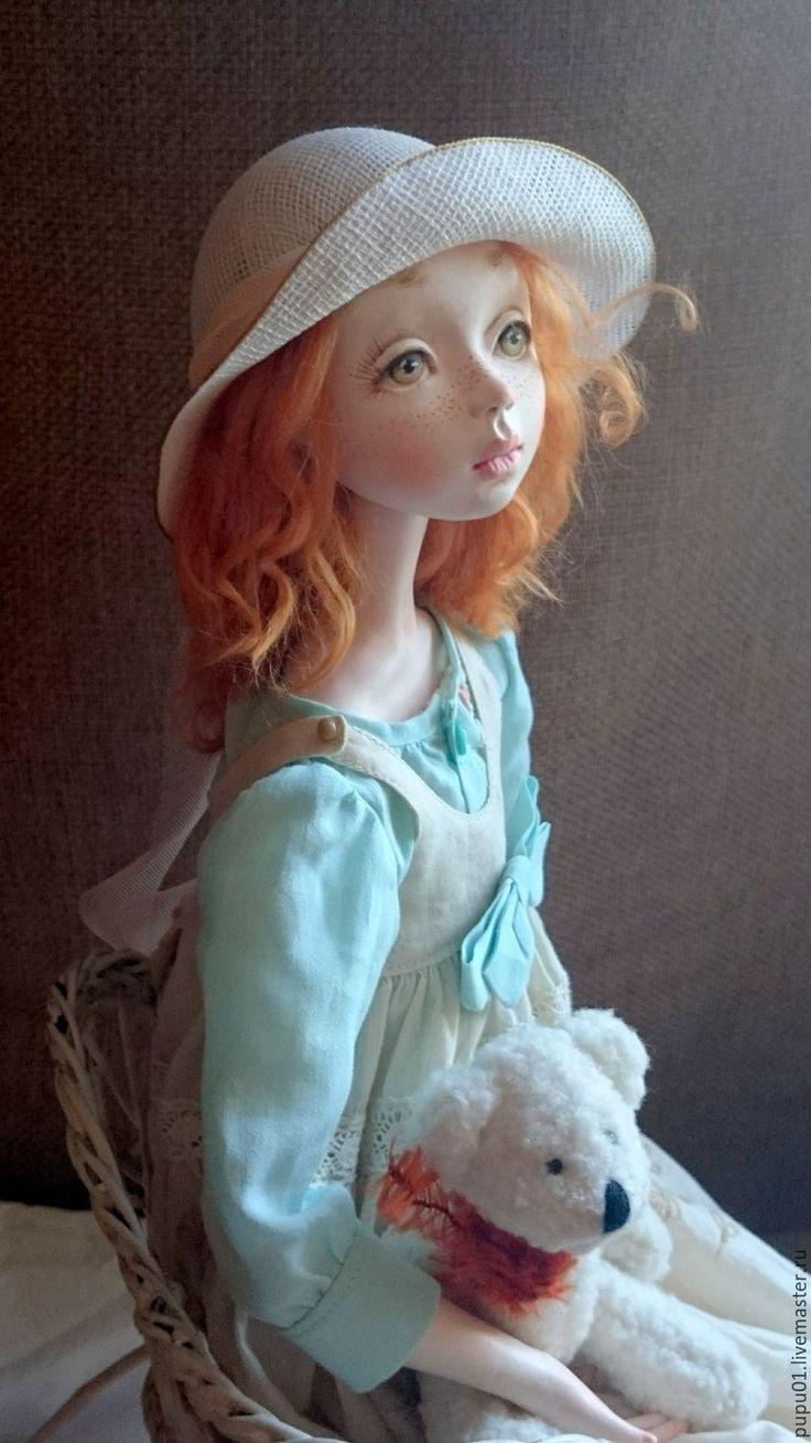 Купить Коллекционная кукла Фиби - оранжевый, кукла ручной работы, кукла интерьерная, кукла в подарок
