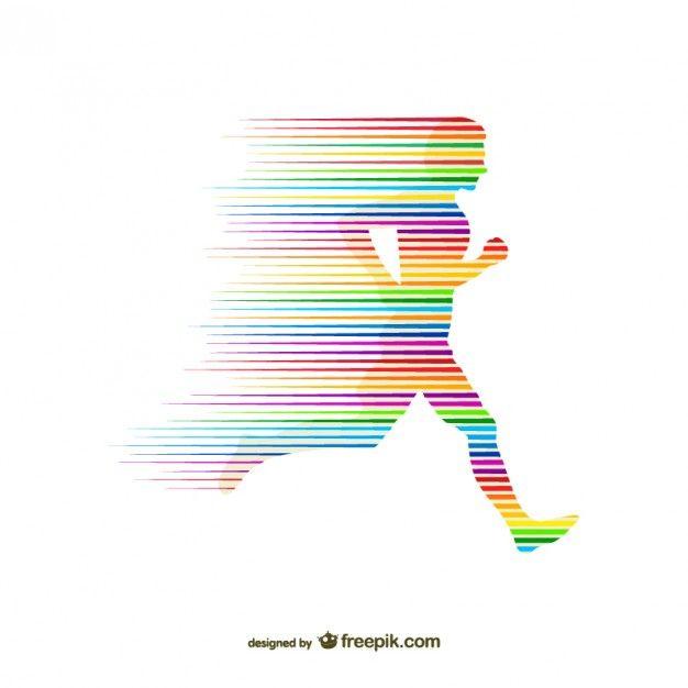 Silueta de corredor con arcoíris Vector Gratis
