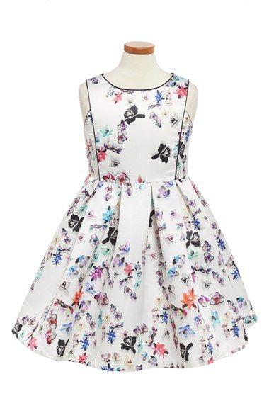 Pippa & Julie Orchid Print Satin Dress (Big Girls)