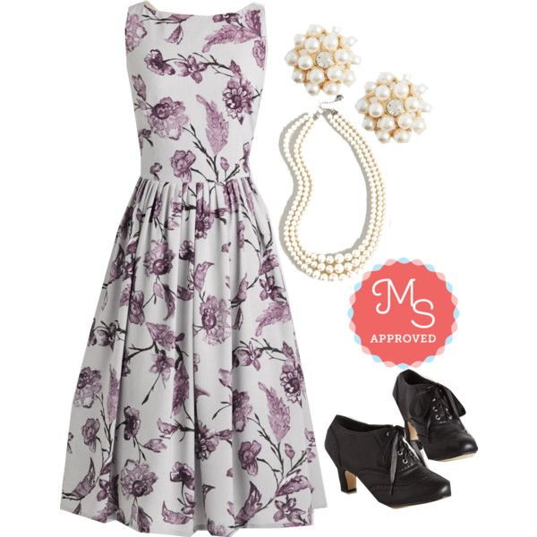 In this outfit: Short Film Festival Dress, Bouquet of Beauty Earrings, And Gem What? Necklace, Dance it Up Heel #floral #dresses #fall #vintage #retro #unique #outfits #ootd #pearls #classic #ModCloth #ModStylist #fashion