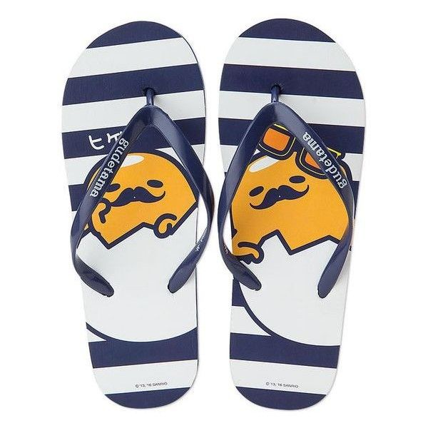 SANRIO Gudetama beach sandals Flip-Flops Navy Size M Mens Ladies Xmas... ❤ liked on Polyvore featuring men's fashion, men's shoes, men's sandals, mens navy shoes, mens beach sandals, mens beach shoes, navy blue mens shoes and mens sandals