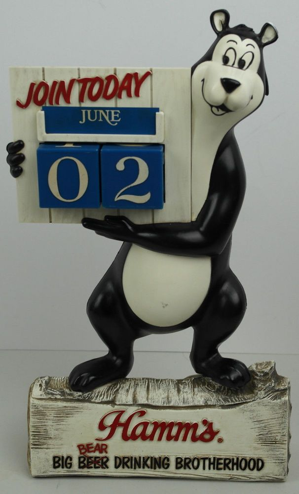 Hamms Beer Bear Back Bar Statue Calendar All 12 Months