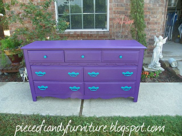 Painted purple dresser and teal handles.  Sold!