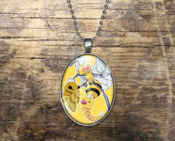Weedle Kakuna Beedrill Pokemon Evolution Pendant by PokemonyByAnn