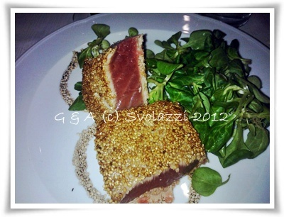 "The ""tataki"" is a classic Japanese cuisine.  It is very fresh tuna fillets, cooked and sprinkled with sesame seeds  http://www.svolazzi.it/2012/07/tataki-ovvero-tagliata-di-tonno.html"