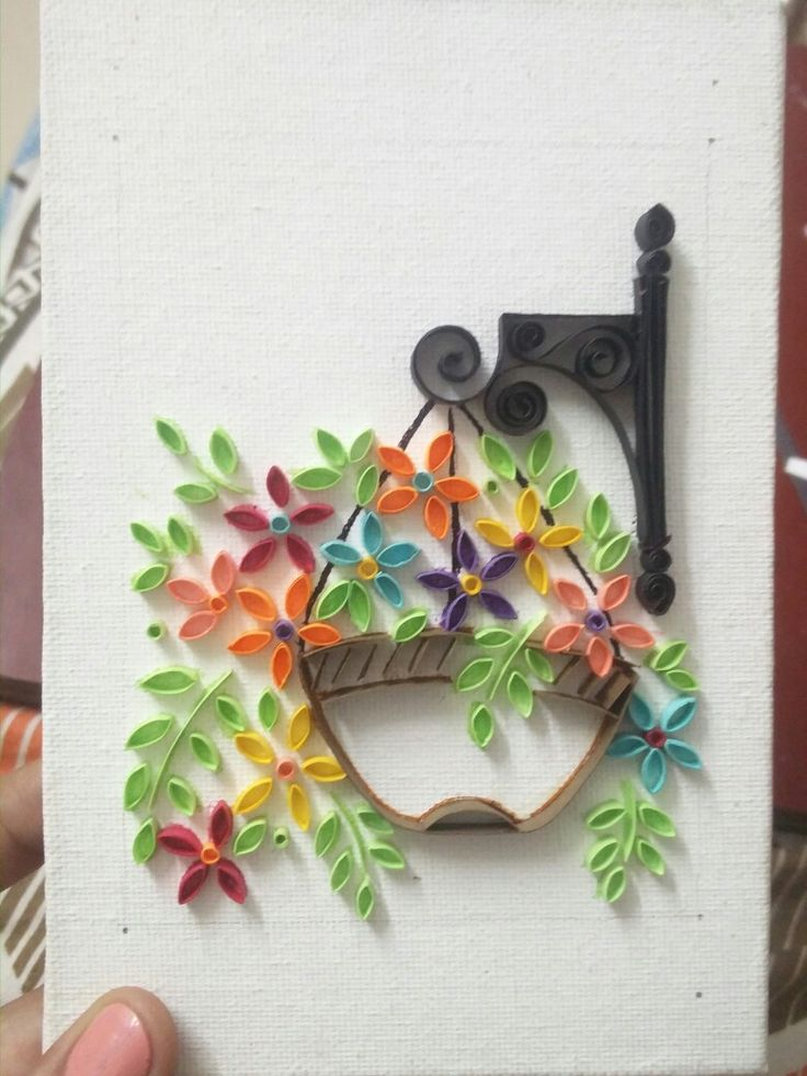 Paper quilled hanging flower pot artwork