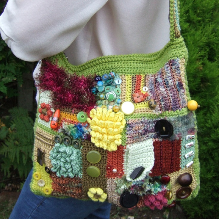Crocheted shoulder bag, embellished with beads and buttons