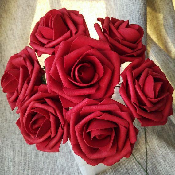 Dark Red Wedding Flowers Ruby Red Roses 100 by HandcraftsInStudio