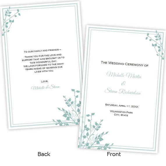 Half Fold Wedding Program Template Brittany DIY by