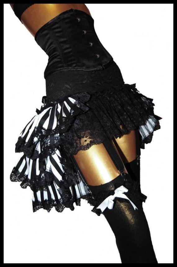 Black & White Burlesque Bustle Skirt