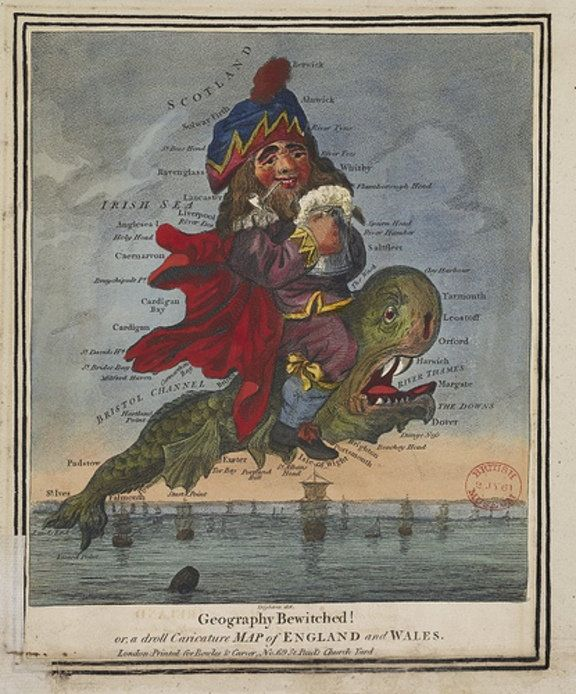 En un panfleto editado en Inglaterra en 1712, nació la figura de John Bull, caricatura del inglés medio: simpático, descontento y con sentido del humor. La autoría del personaje es del médico y escritor satírico John Arbuthnot. En esta caricatura de 1893, John Bull, montado sobre un pez monstruoso que podría ser una ballena (whale), simboliza a Inglaterra y Gales. Juego de palabras: England and Wales. Juego de palabras en inglés, puesto que en galés ballena es morfil