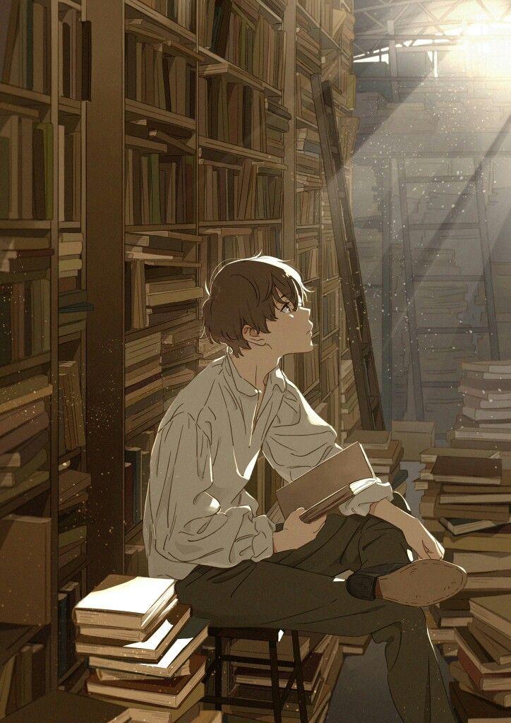 Boy in the library aesthetic anime anime manga art