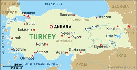 Map of Turkey and some major cities, including mine: Adana.