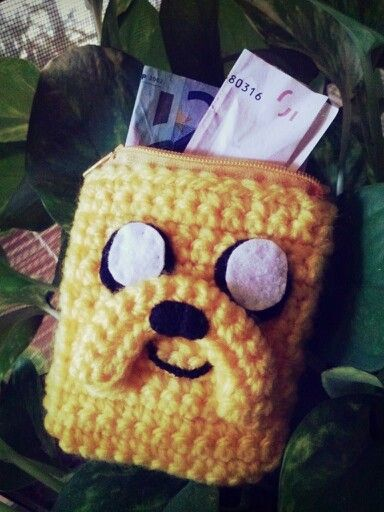 Monedero Jake. Hora de aventuras. Crochet.